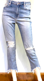 Jonathan Simkhai River High Rise Distressed Straight Jeans in Ojai Light