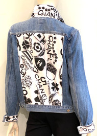 Designer Embellished Denim Jacket - Denim with White/Black