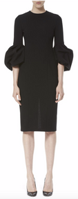 Carolina Herrera Pleated Bell Sleeve Dress