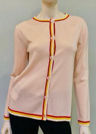 Marni Wool Cardigan with Striped Trim in Rose
