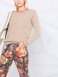 Marni Cashmere Contrast Stitch Crew Neck Sweater in Cord