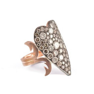 *PRE-ORDER* Sylva & Cie. 14K Rose Gold and Sterling Silver Heart Shaped Champagne Ten Table Ring