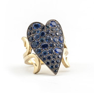 *PRE-ORDER* Sylva & Cie. 18K Yellow Gold and Sterling Silver Sapphire Heart Ten Table Ring