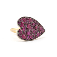 *PRE-ORDER* Sylva & Cie. 18K Yellow Gold and Sterling Silver Sideways Ruby Ten Table Heart Ring