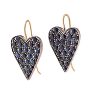 *PRE-ORDER* Sylva & Cie. 18K Yellow Gold and Sterling Silver Sapphire Heart Earrings