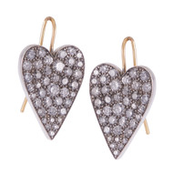 *PRE-ORDER* Sylva & Cie. 18K Yellow Gold and Sterling Silver Grey Diamond Heart Wire Earrings