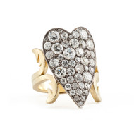 *PRE-ORDER* Sylva & Cie. 18K Yellow Gold and Sterling Silver Old European Cut Diamond Heart Ten Table Ring