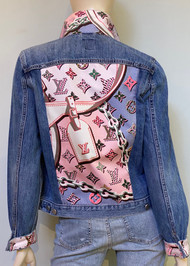 Designer Embellished Denim Jacket - Pink/Multi