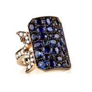 *PRE-ORDER* Sylva & Cie. 18K Yellow Gold and Sterling Silver Sapphire and Diamond Ten Table Ring