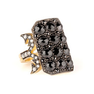 *PRE-ORDER* Sylva & Cie. 18K Yellow Gold and Sterling Silver Black Diamond Ten Table Ring