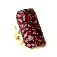 *PRE-ORDER* Sylva & Cie. 18K Yellow Gold and Sterling Silver Gemfields Ruby Ten Table Ring