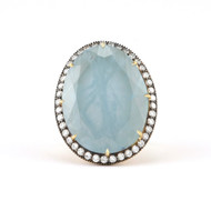 *PRE-ORDER* Sylva & Cie. 18K Yellow Gold Oval Aquamarine Ring
