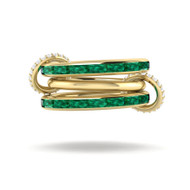Spinelli Kilcollin Mozi Emerald Gold 3 Link Ring, Size 8.25