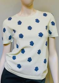 Barrie New Ladded Flower Crochet Knit Top in Jean Flowers