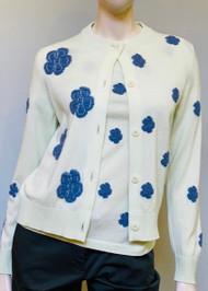 Barrie New Ladded Flower Crochet Knit Cardigan in Jean Flowers