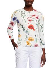 Oscar de la Renta Floral Knit Cardigan