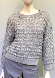 Fabiana Filippi Woven Braid Stitch Cotton Sweater in Grey