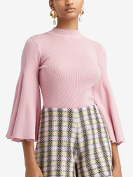 Oscar de la Renta Silk Blend Flared Sleeve Mock Neck Knit Top in Bloom