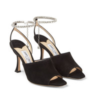 Jimmy Choo Sae 90 Suede Sandals with Crystal Chain Embellishment in Black
