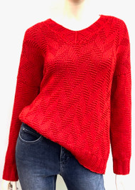Hania V-Neck Sweater in Red