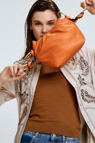 Dorothee Schumacher Stitched Sensation Leather Pouch Bag in Muted Orange