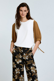 Dorothee Schumacher Surprising Allure Contrast Sleeve Blouse in White and Caramel Mix