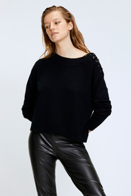 Dorothee Schumacher Sophisticated Softness Off the Shoulder Cashmere Sweater in Black