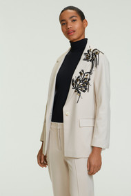 Dorothee Schumacher Emotional Essence Jacket with Embroidery in Subtle Stone