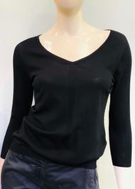 Gentry Portofino Long Sleeve Knit Sweater in Black