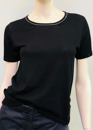Gentry Portofino Embellished Short Sleeve Knit Sweater in Black