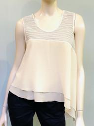Gentry Portofino Sleeveless Knit Embellished Asymmetric Top