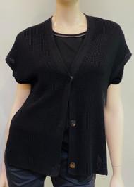 Gentry Portofino Short Sleeve Knit Cardigan in Black
