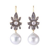 *TRUNK SHOW* Sylva & Cie. 18K Yellow Gold South Sea Pearl Earrings