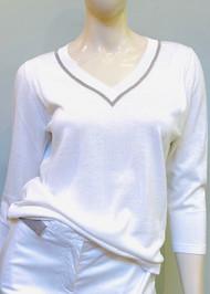 Fabiana Filippi Reversible Point Embellishment Cotton Sweater in White