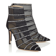 Jimmy Choo Belle Black Suede and Mesh Bootie with Crystal Hotfix