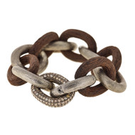 *PRE-ORDER* Selim Mouzannar Link Bracelet in Silver and Ebony Set with Brown Diamonds