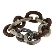 *PRE-ORDER* Selim Mouzannar Link Bracelet in Silver and Ebony Set with Black Diamonds