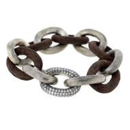 *PRE-ORDER* Selim Mouzannar Link Bracelet in Silver and Ebony Set with Grey Diamonds