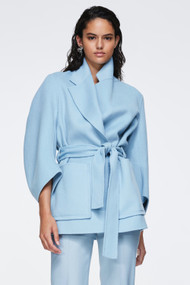 Dorothee Schumacher Exciting Volumes Wool Blend Jacket in Cloudy Mint