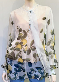 Oscar de la Renta Lemon Print Sheer Silk Blouse