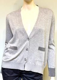 Fabiana Filippi V-Neck Cotton Cardigan with Metallic Stripe Trim in Grey