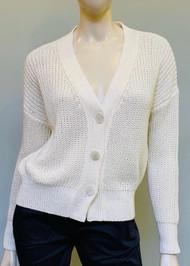 Fabiana Filippi V-Neck Knit Stitched Cotton Cardigan in White
