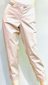 Fabiana Filippi Cropped Pants with Rhinestone Embellished Patch in Beige