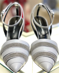 Fabiana Filippi Striped Embellished Pointed Toe Ankle Strap Sandals