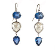 *TRUNK SHOW* Sylva & Cie. 18K White Gold Blue Sapphire Diamond Earrings