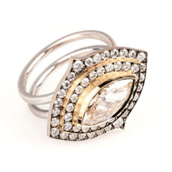 *TRUNK SHOW* Sylva & Cie. 18K White and Yellow Gold Marquise Diamond Ring
