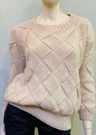 Hania Crew Neck Basket Stitch Knit Sweater in Cream