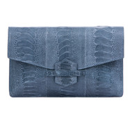 *TRUNK SHOW* Cape Cobra Leathercraft Ivy Clutch in Blue Jean Ostrich Leg