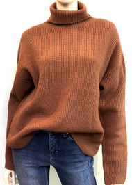 Lapointe Airy Cashmere Silk Ribbed Turtleneck in Camel