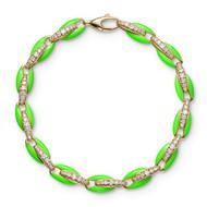 *PRE-ORDER* Melissa Kaye 18K Yellow Gold Ada Diamond Link and Neon Green Enamel Bracelet
